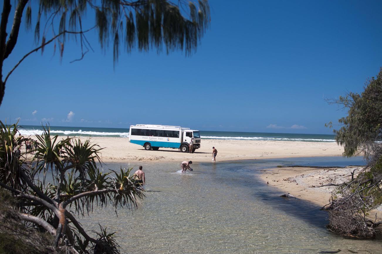 bus on beach