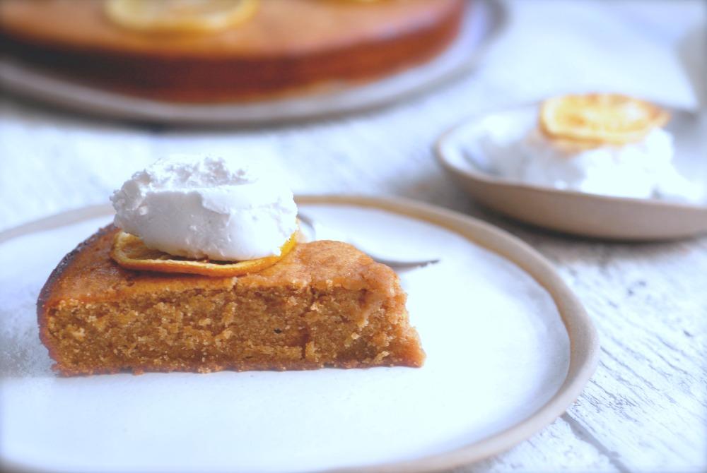 lemon cake side plus cake background and yoghurt