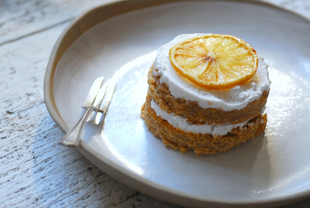 lemon cake stack on plate