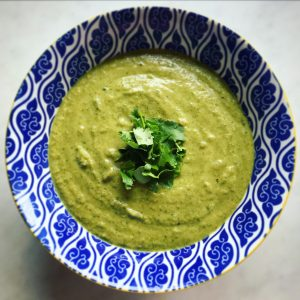 Creamy dairy free curried broccoli and onion soup